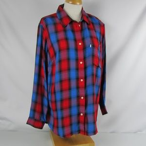 Levi's Red Blue Plaid Button Down Shirt Plus Sz 1X